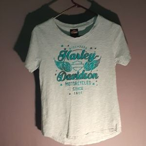 Harley's short sleeve tee grey w/teal